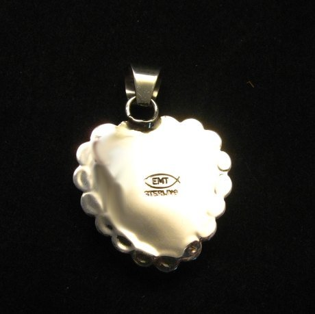 Image 3 of Navajo Everett & Mary Teller Spiny Oyster Silver Heart Pendant