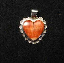 Navajo Everett & Mary Teller Spiny Oyster Silver Heart Pendant