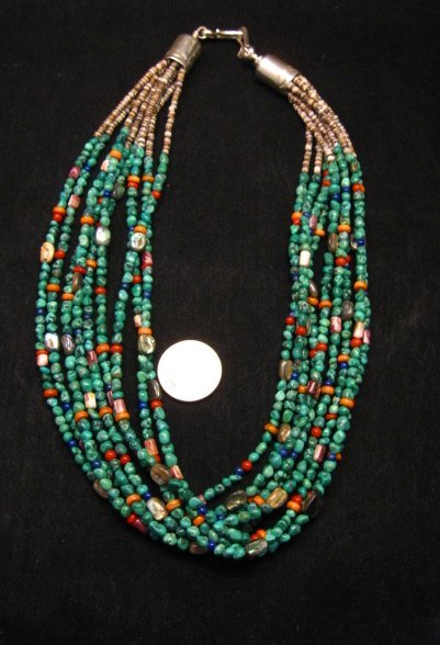 Image 0 of Everett & Mary Teller Navajo Turquoise Multi Gem Necklace 9-Strand