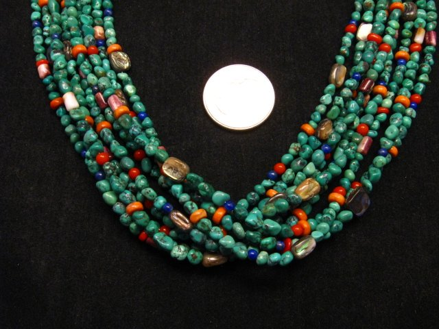Image 1 of Everett & Mary Teller Navajo Turquoise Multi Gem Necklace 9-Strand