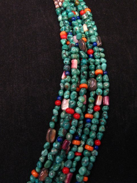 Image 4 of Everett & Mary Teller Navajo Turquoise Multi Gem Necklace 9-Strand