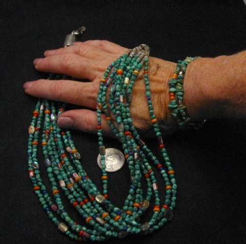 Image 6 of Everett & Mary Teller Navajo Turquoise Multi Gem Necklace 9-Strand