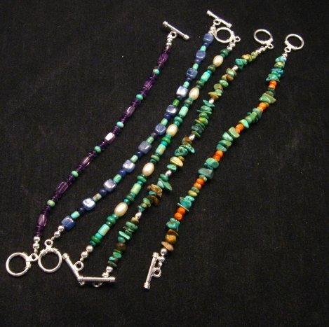 Image 2 of Everett & Mary Teller Navajo Turquoise & Spiny Oyster Shell Bracelet
