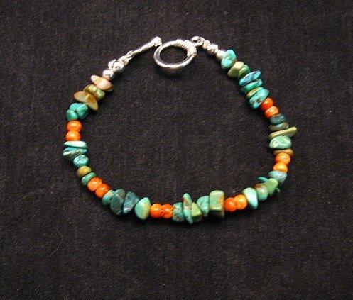 Image 0 of Everett & Mary Teller Navajo Turquoise & Spiny Oyster Shell Bracelet