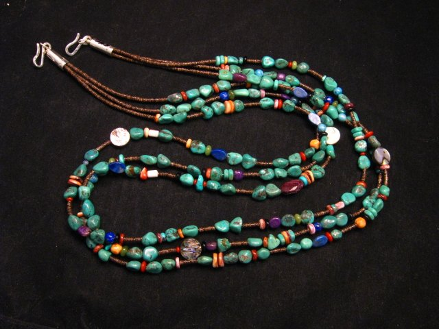 Image 4 of Long Everett & Mary Teller Navajo Turquoise Multi Gem Necklace 3-Strand