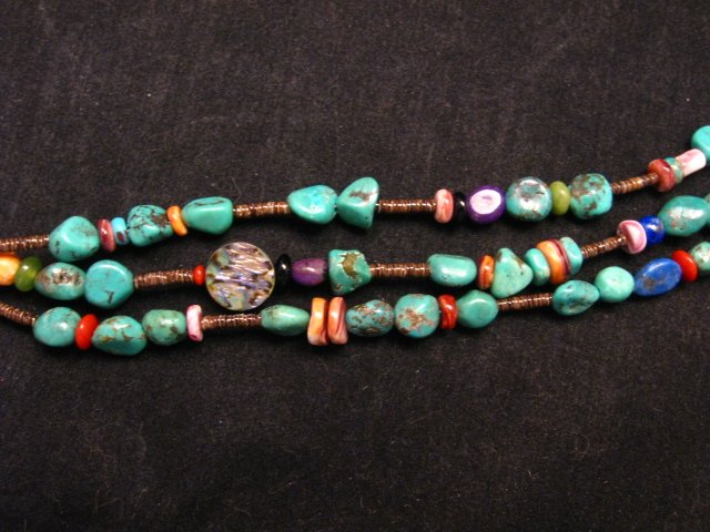 Image 3 of Long Everett & Mary Teller Navajo Turquoise Multi Gem Necklace 3-Strand