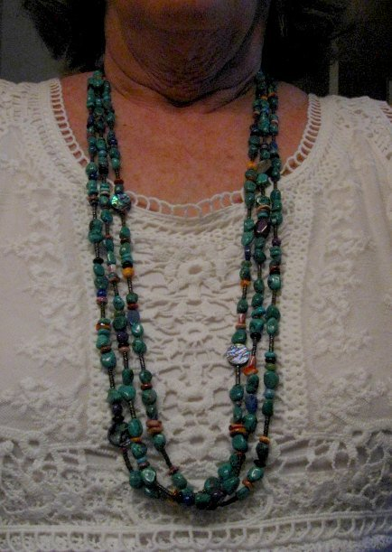 Image 2 of Long Everett & Mary Teller Navajo Turquoise Multi Gem Necklace 3-Strand