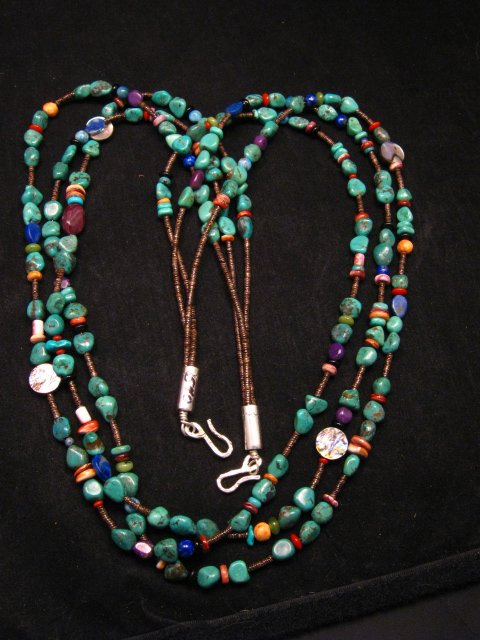 Image 0 of Long Everett & Mary Teller Navajo Turquoise Multi Gem Necklace 3-Strand
