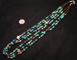 Long Everett & Mary Teller Navajo Turquoise Multi Gem Necklace 3-Strand