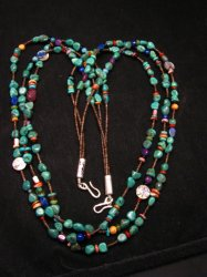Long Everett & Mary Teller Navajo Turquoise Multi Gem Necklace 3-Strand