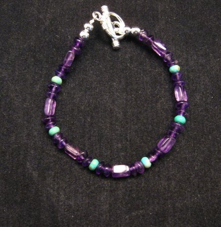 Image 1 of Everett & Mary Teller Navajo Sugilite & Turquoise Bead Bracelet