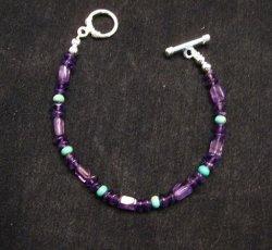 Everett & Mary Teller Navajo Sugilite & Turquoise Bead Bracelet