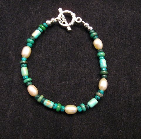 Image 0 of Everett & Mary Teller Navajo Turquoise & Fresh Water Pearl Bead Bracelet