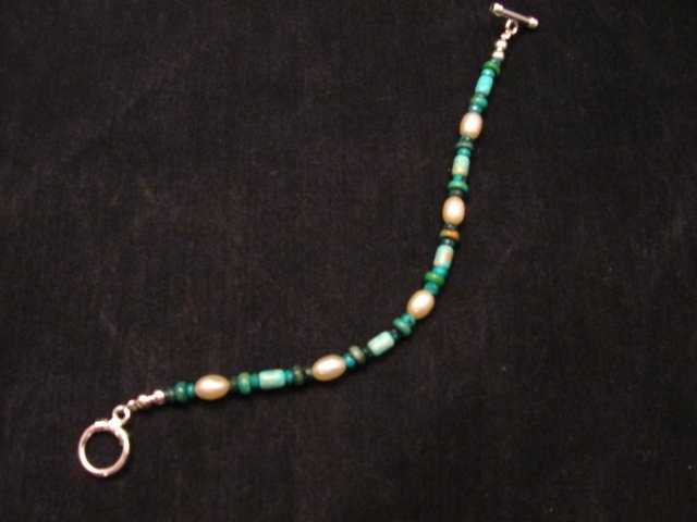 Image 1 of Everett & Mary Teller Navajo Turquoise & Fresh Water Pearl Bead Bracelet