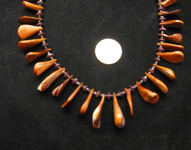 Image 1 of Unique Everett & Mary Teller Navajo Lions Paw Shell Necklace