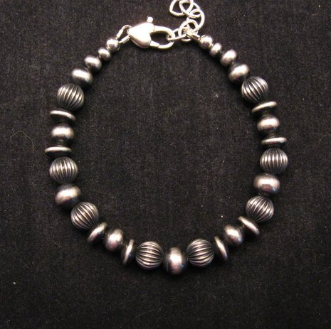 Image 0 of Navajo Pearls Hand Finished Mixed Sterling Silver Bead Bracelet 7-8 inch