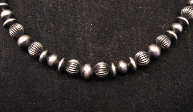 Image 1 of Navajo Pearls Hand Finished Mixed Sterling Silver Bead Bracelet 7-8 inch