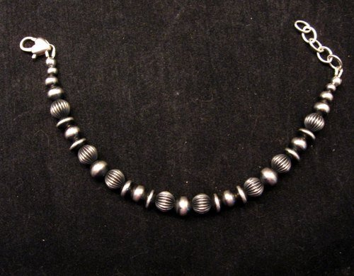 Image 2 of Navajo Pearls Hand Finished Mixed Sterling Silver Bead Bracelet 7-8 inch