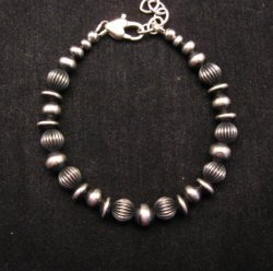 Navajo Pearls Hand Finished Mixed Sterling Silver Bead Bracelet 7-8 inch