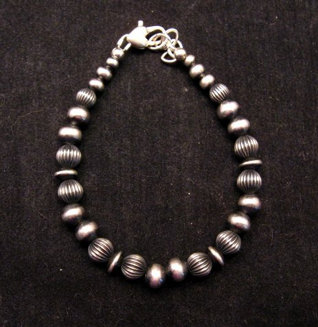 Image 1 of Navajo Indian Hand Finished Mixed Sterling Silver Bead Bracelet 7-5/8 to 8-5/8