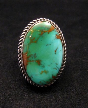 Image 0 of Albert Jake Navajo Native American Turquoise Ring Sz9 adjustable