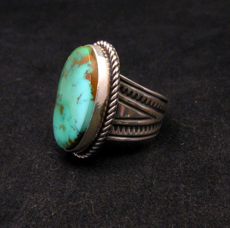 Image 3 of Albert Jake Navajo Native American Turquoise Ring Sz9 adjustable