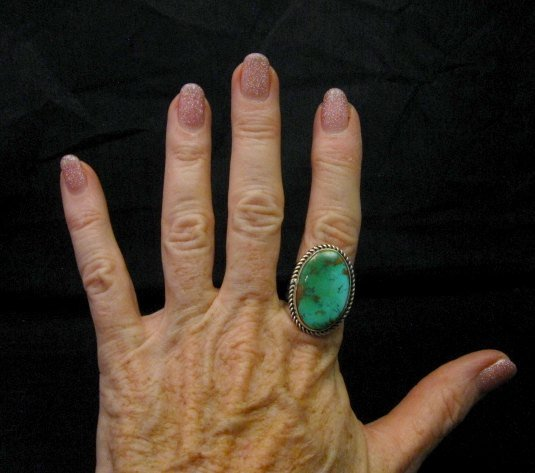 Image 2 of Albert Jake Navajo Native American Turquoise Ring Sz9 adjustable
