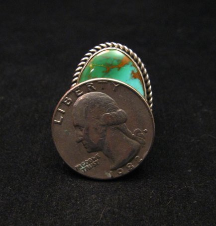 Image 4 of Albert Jake Navajo Native American Turquoise Ring Sz9 adjustable