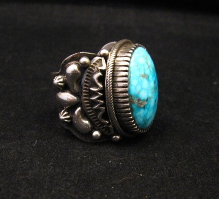 Image 1 of Big Navajo Birdseye Kingman Turquoise Silver Ring sz9-1/2 Richard Jim