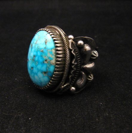 Image 2 of Big Navajo Birdseye Kingman Turquoise Silver Ring sz9-1/2 Richard Jim
