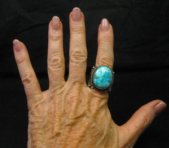 Image 5 of Big Navajo Birdseye Kingman Turquoise Silver Ring sz9-1/2 Richard Jim