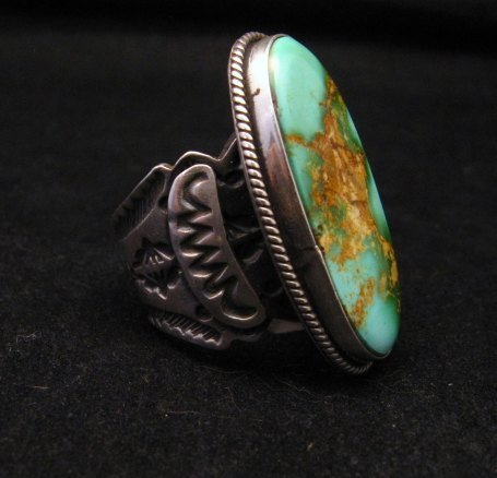 Image 2 of Bo Reeves Navajo Old Pawn Style Pilot Mtn Turquoise Ring sz7-1/2