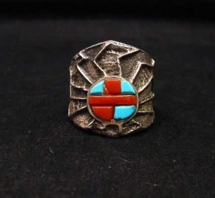Image 0 of Unique Navajo Tufa Cast Turquoise Coral Inlay Ring sz8, Merle House