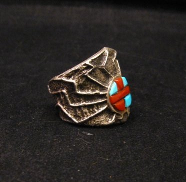 Image 1 of Unique Navajo Tufa Cast Turquoise Coral Inlay Ring sz8, Merle House
