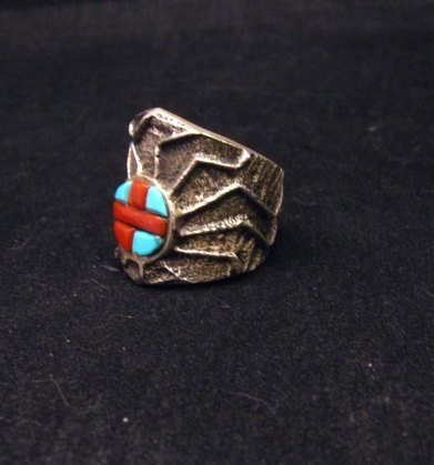 Image 2 of Unique Navajo Tufa Cast Turquoise Coral Inlay Ring sz8, Merle House