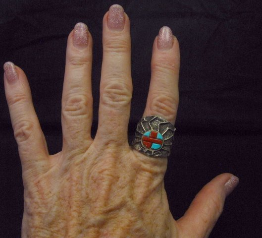 Image 4 of Unique Navajo Tufa Cast Turquoise Coral Inlay Ring sz8, Merle House