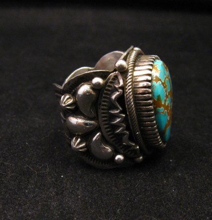 Image 1 of Navajo Native American Turquoise Silver Ring by Richard Jim sz8