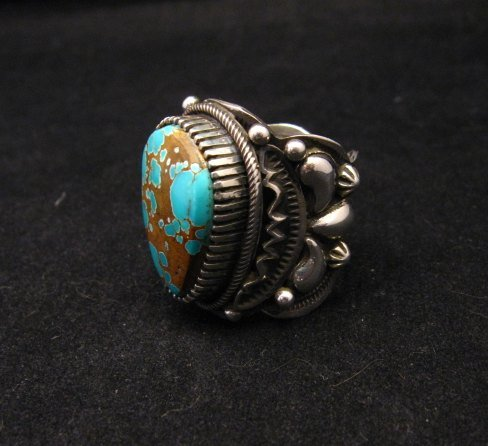 Image 2 of Navajo Native American Turquoise Silver Ring by Richard Jim sz8