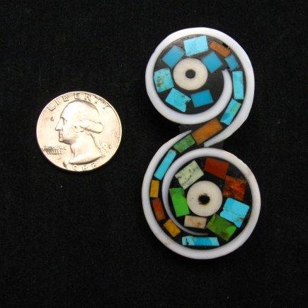 Image 1 of Unique Santo Domingo Kewa Turquoise Inlay Folk Art Pin/Pendant, Mary Tafoya