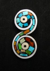 Unique Santo Domingo Kewa Turquoise Inlay Folk Art Pin/Pendant, Mary Tafoya