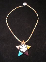 Mary Tafoya Santo Domingo Mosaic Flower Inlay Star Necklace