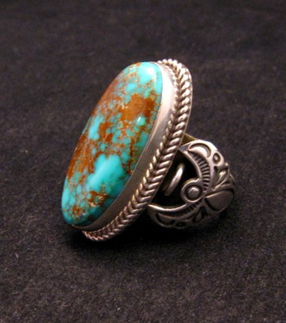 Image 1 of Big Albert Jake Navajo Native American Kingman Turquoise Ring Sz8-1/2