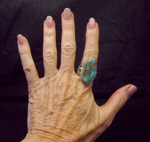 Image 4 of Big Albert Jake Navajo Native American Kingman Turquoise Ring Sz8-1/2