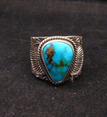 Image 0 of Navajo Native American Sunshine Reeves Kingman Turquoise Ring sz9-1/2