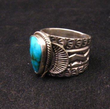 Image 2 of Navajo Native American Sunshine Reeves Kingman Turquoise Ring sz9-1/2