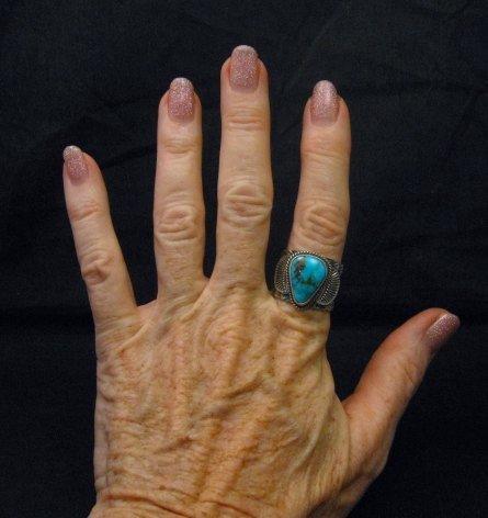 Image 3 of Navajo Native American Sunshine Reeves Kingman Turquoise Ring sz9-1/2