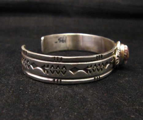 Image 3 of Narrow Navajo Wild Horse Sterling Silver Bracelet, Darrell Cadman
