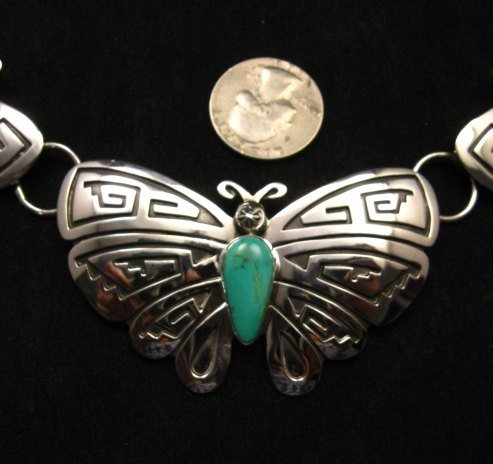 Image 1 of Everett Mary Teller Turquoise Sterling Silver Overlay Butterfly Necklace