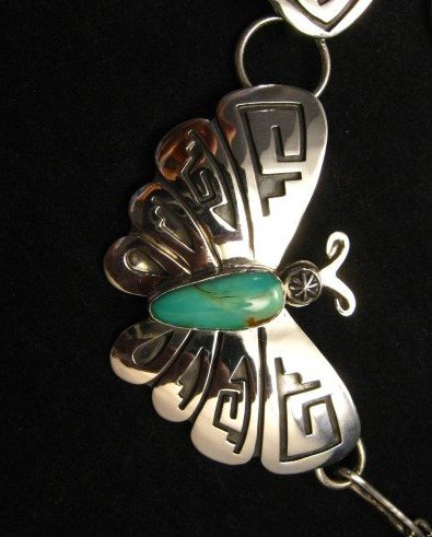 Image 2 of Everett Mary Teller Turquoise Sterling Silver Overlay Butterfly Necklace