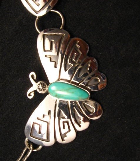 Image 3 of Everett Mary Teller Turquoise Sterling Silver Overlay Butterfly Necklace